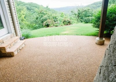pebble-stone epoxy patio resurfacing installed by St. Louis Resurfacing