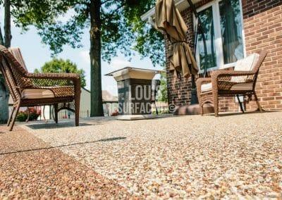 pebblestone patio in St. Louis County, Missouri. Decorative Concrete Resurfacing by St. Louis Resurfacing