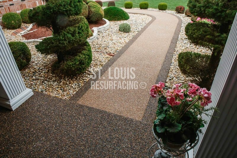 pebble-stone epoxy front porch and walkway in st. louis, missouri installed by St. Louis Resurfacing