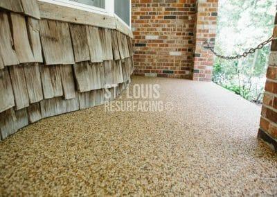 pebble-stone epoxy front porch in St. Peters, Missouri