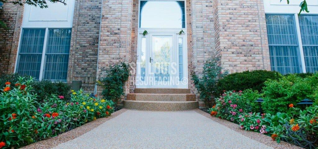 pebble-stone epoxy porch in st. louis, missouri